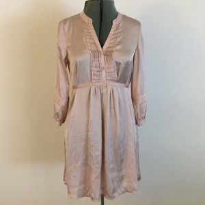 Light pink satin dress w/pleated front & sleeves.